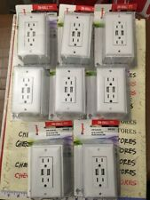 8X NEW USB Receptacle Kit Easy Install DIY Electrical Wall Outlet Hardware METAL