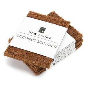 Dish Scrubber x 4, Coconut Husk, Biodegradabe, Washing Pad, Eco Product 10x7cm