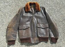 Vintage US WW2 WWII USN Navy G-1 G1 G 1  Flight Bomber Jacket U.S.N. leather