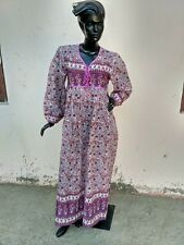 Indian gauze dress lilac purple flowers cotton printed ethnic vintage maxi dress