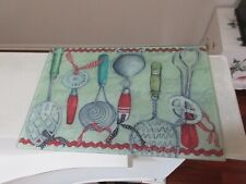 "Serving Tray/Place Mat/Decorative , Kitchen Utensils ,113/4"" X8""X1/4"" , Vintage"
