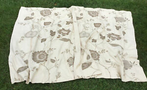 POTTERY BARN CREWEL EMBROIDERED DRAPES MARISA PATTERN TAN ON OFF WHITE PALAMPORE