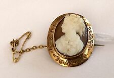 Beautiful Antique Victorian 9Ct Gold Cameo Brooch