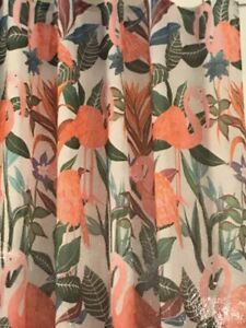 new~fabric SHOWER CURTAIN~Tropical Pink FLAMINGOS Blue Flowers Green Leaves
