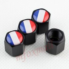 Black Vehicle Auto Air Dust Wheel Tire Tyre Valve Screw Cap Trim FR France Flag