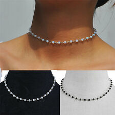 Mode Damen Perlen Choker Kristall Opal Halskette Damen Naturstein Hochzeit GUT