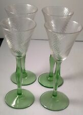 SET OF 4 VINTAGE GREEN STEMMED CORDIAL GLASSES