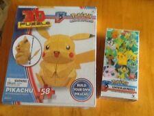 Pokemon PIKACHU 3D Puzzle & LENTUCULAR 100 Piece Puzzle Brand New
