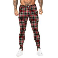 GINGTTO Men Chinos Trousers Red Tartan Skinny Super Stretch Slim Fit Pants 2020