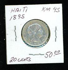 1895 Haiti 20 Centimes KM 45 Silver Coin