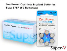 Cochlear Implant Batteries, ZENIPOWER SIZE 675P  60 Batteries Total
