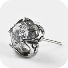 vintage silver style stud stainless steel crystal single earring 6mm