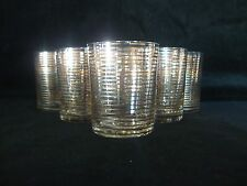 Krosno Set of 6 Vintage Spirit Tumbler Glasses Gold Bands -part of large suite