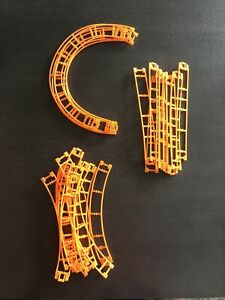 Lot 24 Micro K'Nex Roller Coaster Track Curved & Straight Knex Pieces