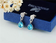 Antique Style 18K White Gold Filled Blue Crystal Drop Stud Earrings Gorgeous