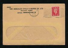 GB ww2 Stampato BUSTA HERCULES CICLO + Motor Co 1941 PERFIN NON SIGILLATA Tasso 1d