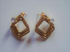 1 Paire Boucles d'Oreilles doré avec (faux) Diamants