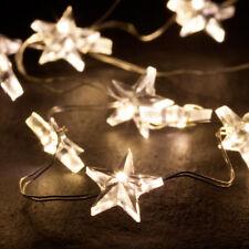 LED Draht Stern 40er Micro LED Lichterkette inkl. Timer Sterne warmweiß Batterie