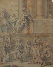 Madonna mit Kind und Heiligen, Federzeichnung Italien 16/17. Jhd.