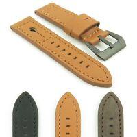 DASSARI Keyhole Genuine Italian Leather Watch Band Strap w/ Matte Black Buckle