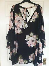 Lovedrobe Plus Size 30 Rose Print Tie Back Blouse