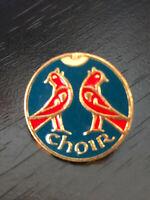Vintage Collectible Choir Singing Birds Colorful Metal Pinback Lapel Pin Hat Pin