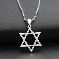 Stainless Steel Star Of David Pendant Necklace Chain or Leather Rope Necklace Je