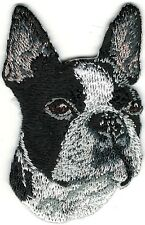 Black White Boxer Boston Terrier Portrait Embroidery Patch