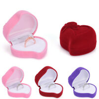 Ring Box Heart-shape Earrings Jewelry Gift Carring Wedding Velvet Red Rose P&C