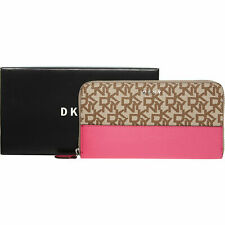 DKNY Women's  Brown & Pink Logo Print Leather Purse, ** New