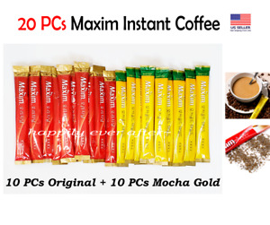 Maxim Korean Instant Coffee Mix 20 Sticks- Mocha Gold Mild & Original, US SELLER