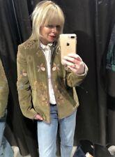 Zara Khaki Green Velvet Bees & Flowers Embroidered Jacket S UK10 Bnwt