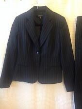 Nine West Size 2 Black Pin Striped Pant Suit Jacket Blazer Career Woman