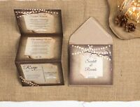 Rustic Wedding Invitation - Fairy Lights Double-Folded (Portrait)