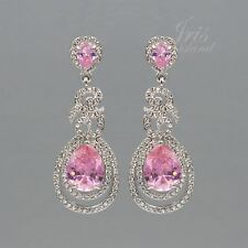 Rhodium Plated Clear Crystal Rhinestone Pink CZ Wedding Drop Dangle Earrings 664
