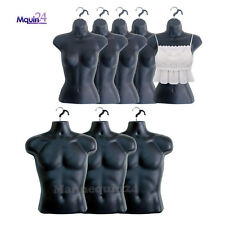 5 Female Torsos + 3 Male Mannequin Torsos in Black.