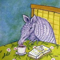 armadillo at the cafe coffee shop art tile coaster gift