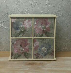Cupboard 4 Drawers Trinket Box with Crystal Handles, Metallic Flowers Wallpaper