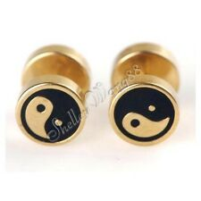 Pair of Stud Men Women Golden Stainless Steel Earrings Ear Plug Chinese Yin Yang