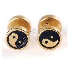 Pair of Stud Men Women Golden Stainless Steel Earrings Ear Plug Chinese Yin Yang