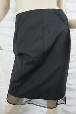 CUE black cotton blend 100% silk sheer hemline pencil career skirt size 8 BNWT