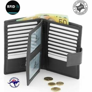 New Genuine Full Grain Leather Unisex RFID Protection Wallet Purse Card Holder