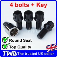 BLACK ALLOY WHEEL LOCKING BOLTS FOR VW GOLF (M14x1.5) RADIUS SECURITY NUTS -RBXb