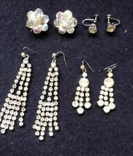 4 Pairs Vintage Diamanté & Crystal Earrings Pierced, Clip On & Screw