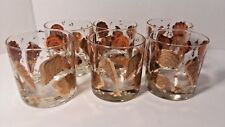 Vtg 6 Mid Century Culver Ltd. Gold Rock Low ball Glasses Seashells