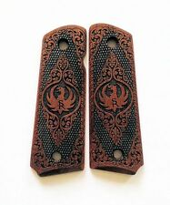 1911 Ruger SR1911 custom walnut wood grips Scroll Pattern Dragon Eagle Logo