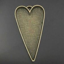 05450  Vintage Bronze Tone Alloy Heart Cameo Setting Tray 41*26mm Pendant 5pcs