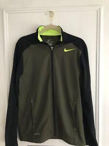 Mens Nike Running DRI FIT Full Zip  Jacket Size S  Small Army Green/Black Nice!