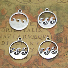 15pcs ocean wave Charms silver tone wave Charms pendant 20x23mm