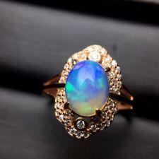 Real Natural Opal GEMSTONE S925 Rose Gold Plating Ring Romantic Anniversary Gift